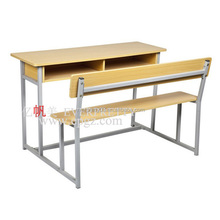 Popular school furniture modern double desk and bench