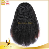 Natural hairline afro curly full lace wig natural black color front wigs glueless 18 inch long human hair wigs