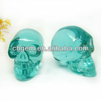 Light Blue Glass Crystal Skull For Decoration