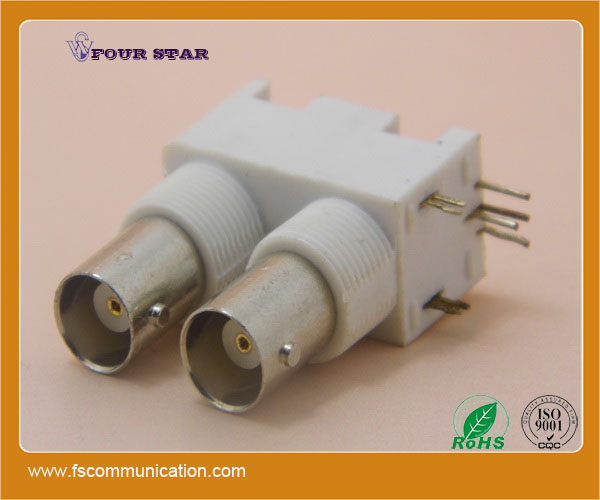 bnc connector female dual stack for pcb mount