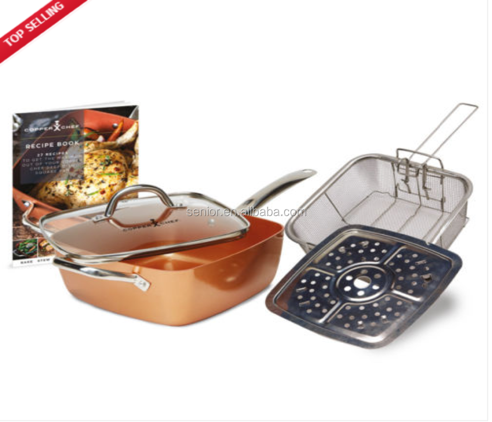 NEW Deep copper Square Pan With Lid, Frying Basket, Steamer Tray and Recipe Book - 5 Piece Set