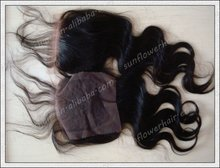 Wholesale price virgin brazilian hair lace top closure cleared knots medium density
