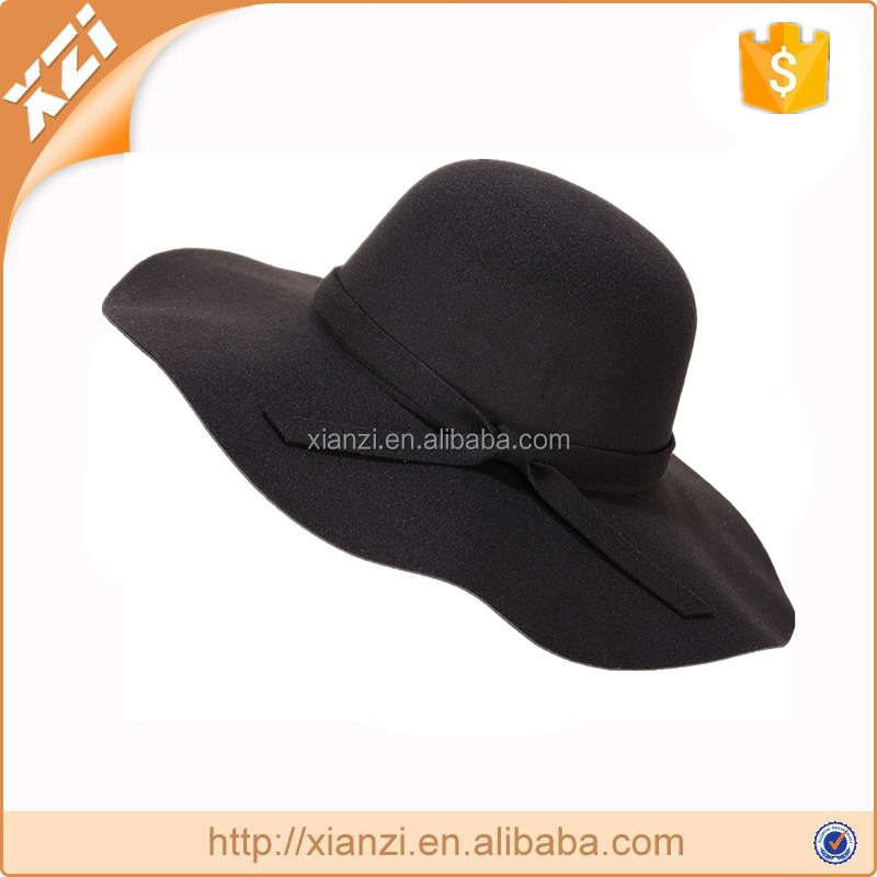 Exquisite winter hat black polyester floppy hat wide brim amish hat