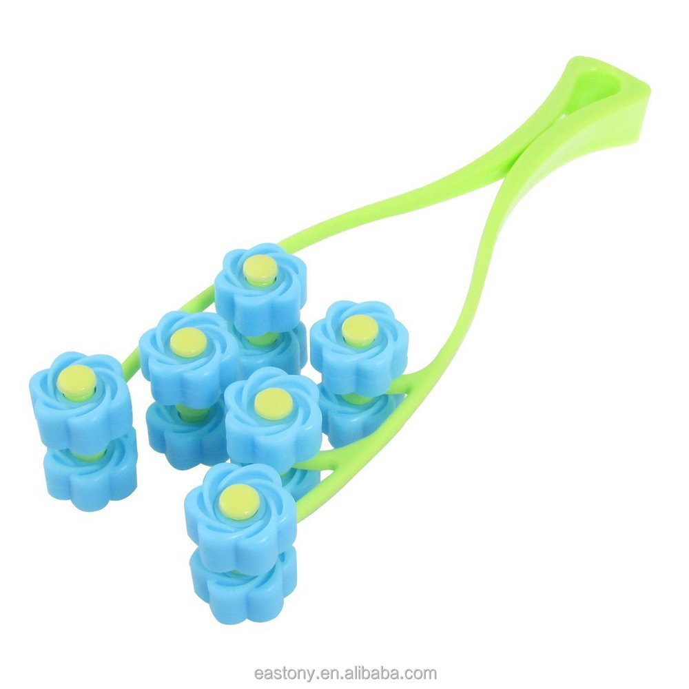 Green Blue Handheld Plastic Rolling Flowers Face Massage Roller