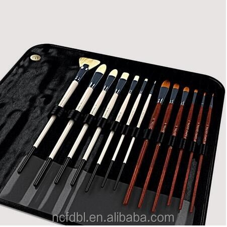 13pcs of 1set bristle painting brush , kids paint brush set for water colour ,oil painting