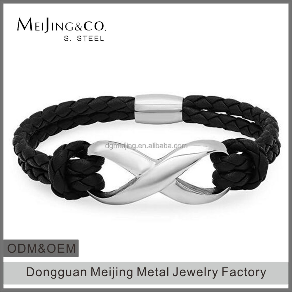 Braided Black Leather and Stainless Steel Bracelet with Magnetic Clasp(MJB-0943)
