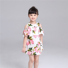 Summer girl kids casual off shoulder printing sexy spaghetti strap mini dress