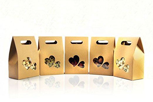 Kraft Paper Stand Up Bags with Double Heart Window Candy Boxes Nuts Packaging Bags Coffee Bags for Wedding/Gift/Jewelry/Food/Can