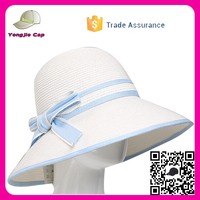 2016 Factory Custom Made Paper Straw Hats With Bowknot ladies beach hats to decorate
