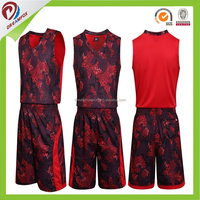 Dry fit new style custom ncaa basketball jersey kit, sublimation camo reversible basketball uniform set design