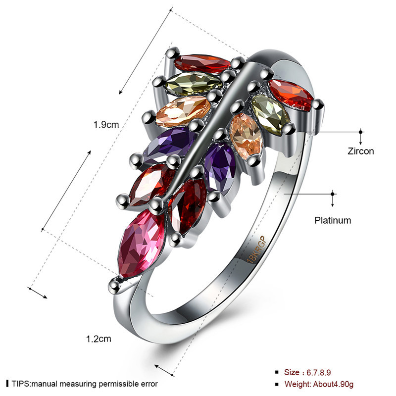 Wholesale Diamond Leaf Sterling Silver Ring Red Sterling Silver Ring Moon Sterling Silver Ring