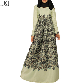 latest style 3D digital print muslim kaftan dress round collar abaya models dubai islamic clothing for women