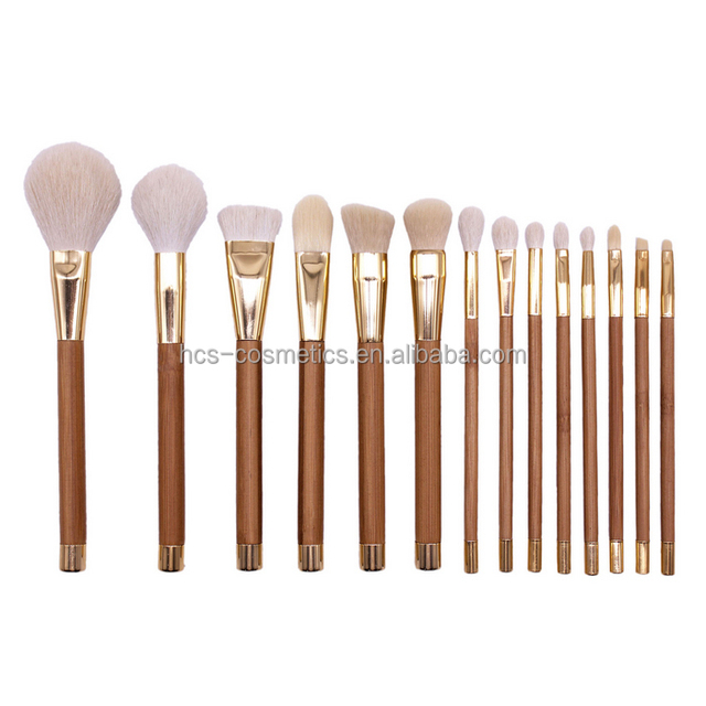 Goat hair 15pcs gold color high quality makeup brushes set in PU bag