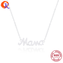 Best Classic 925 Sterling Fashion Jewelry Link Chain Letter Mama Pendant Necklace CZ Name Necklace For Gift CDSN-0004