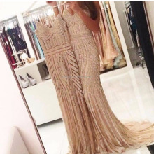 2018 Mermaid Champagne Spaghetti Straps Evening Dresses Long Sexy Women Formal Dresses