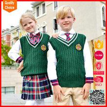 Children 100%cotton green colour sleeveless knitted school cardigan