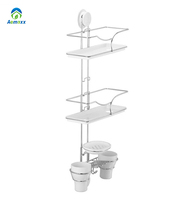 three tier stainless steel plastic wall hanging bathroom corner suction cup shelf with tumbler holder