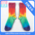 Colorful custom rainbow neon socks