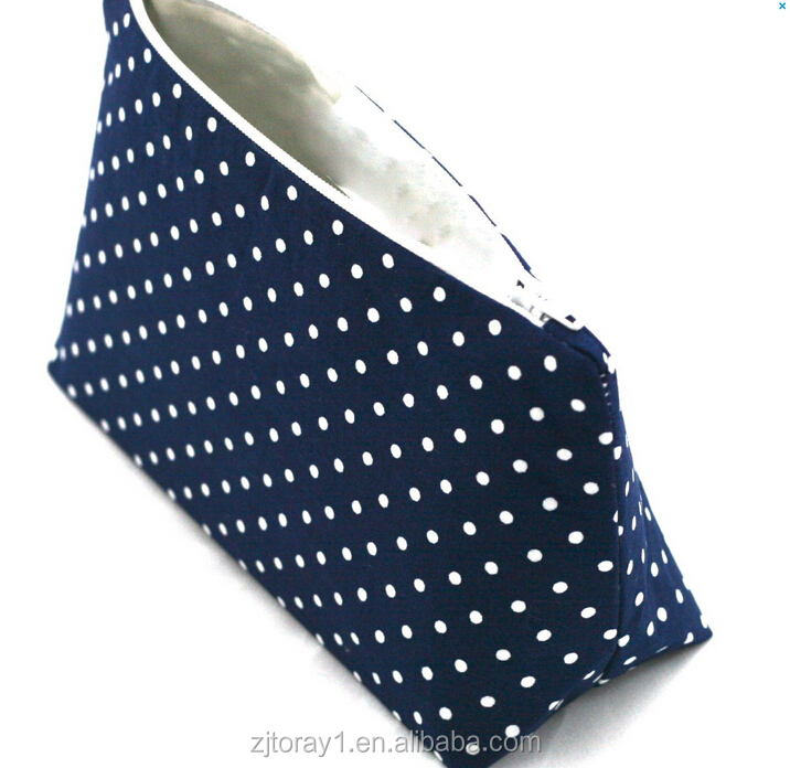 Wholesale Professional Navy Dot Organic Cotton Makeup Bag