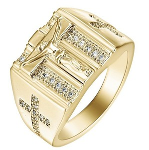 Huilin Customized Rose The Ring of Jesus Cross Diamond and Gold Plated Fashion Ring for Woman