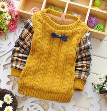 Children's sweater with plaid sleeves fashion winter/full kintting sweater designs for kids