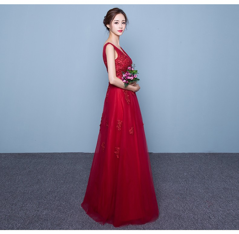 V-Neck Loyal Evening Dinner Multi Colors Red Best Bride Wedding Party Dress