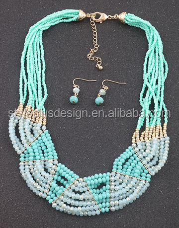 S62014I01 Factory supply custom design luxury elegant diamond necklaces with different colors seed bead necklace