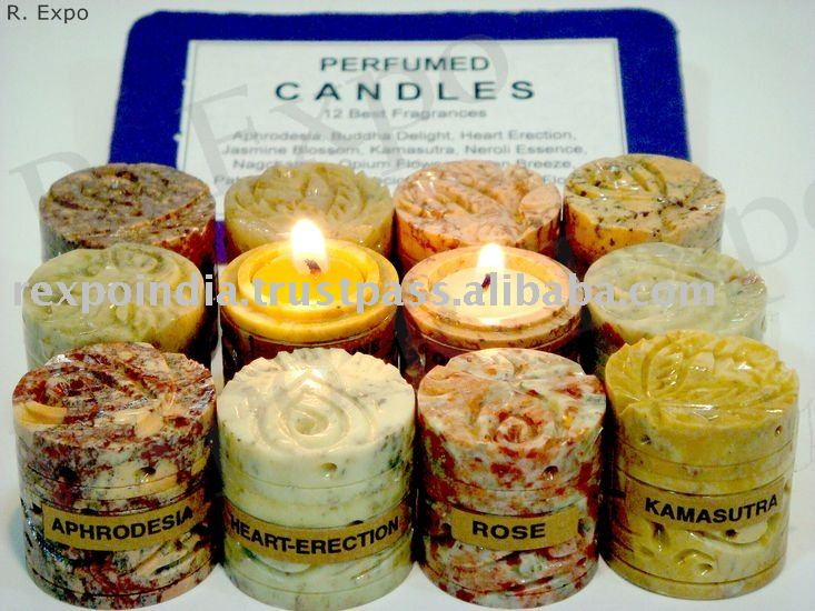 Perfumed Candles in Hand Carved Stone Jars