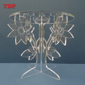 8Inches Flower Shaped Crystal Display Clear Acrylic Wedding Cake Stand