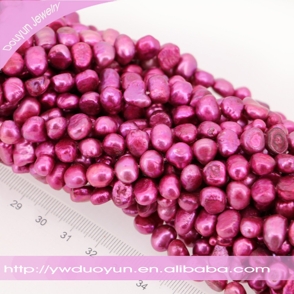 Dark Pink Coloured Freshwater Nugget Pearl Beads