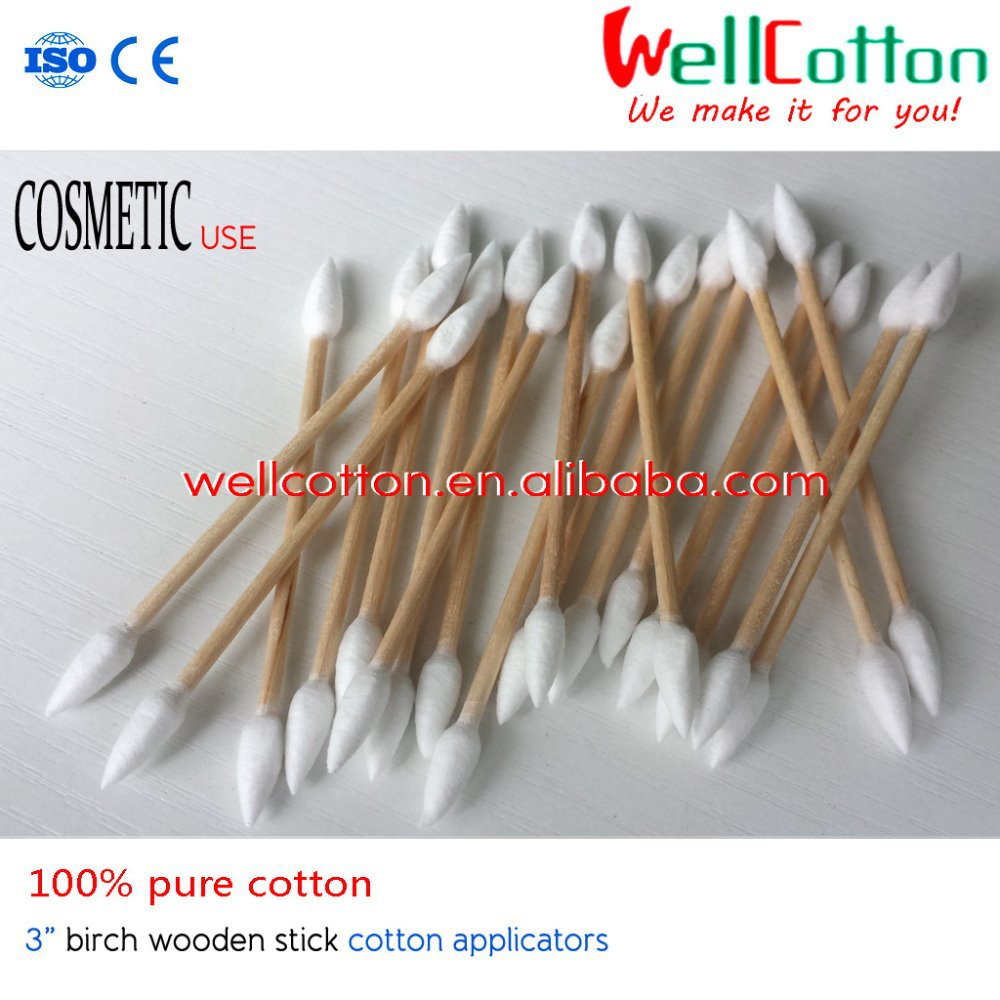 "3"" birch wooden stick make up cotton buds Double Sharp tipped 100% pure cotton 100pcs/bag"