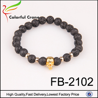 Hot sale factory wholesale gold planting skull pendant pelelith bracelet