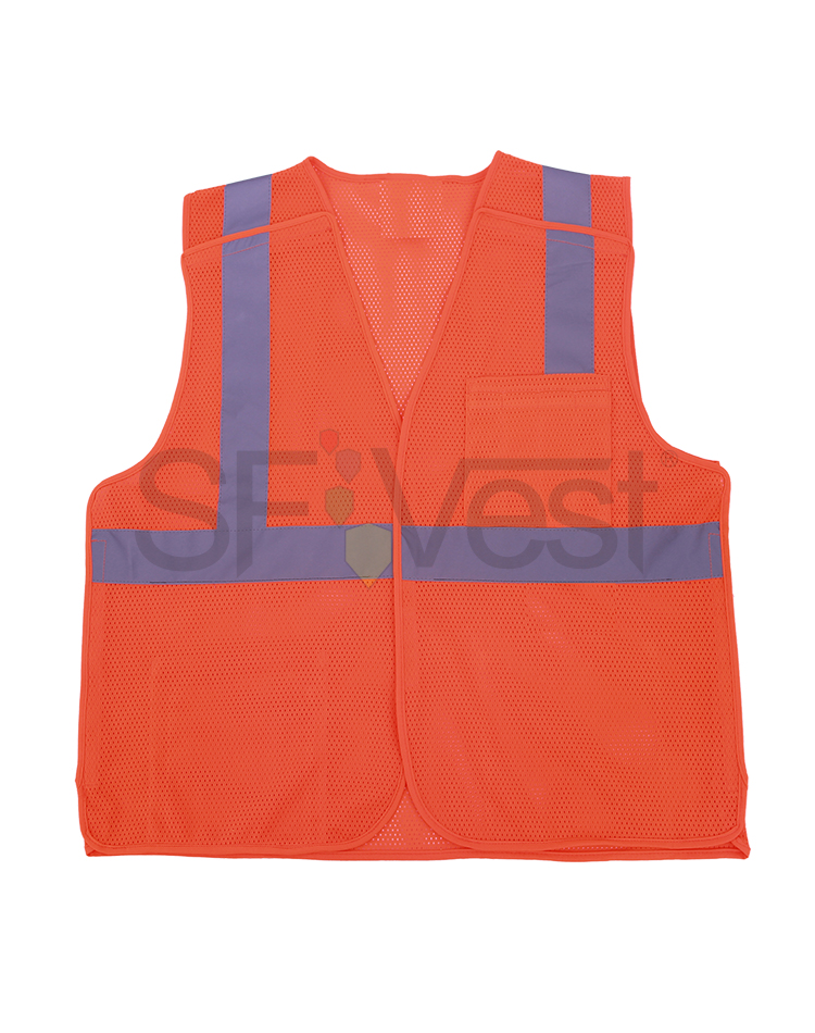 100% polyester mesh road safety reflective two tone orange vest