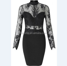 Club Sexy Women Dress Knee Length Slim Long Sleeve Sheer Lace Party Dresses Hollow Black Bodycon Elegant Dress