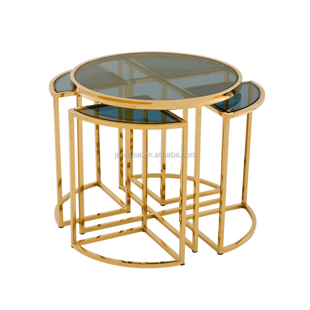 Four Part Side Table with Gold Finish
