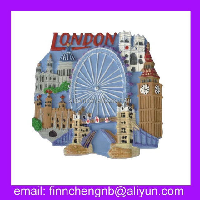 resin magnets different countries LONDON EYE & BRIDGE resin 3d fridge magnet,handicraft resin custom magnets with thermometer