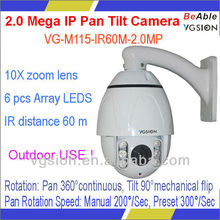 "Outdoor use PC phone view CMOS 10X zoom 4"" MINI IR PTZ IP 2MP webcam"