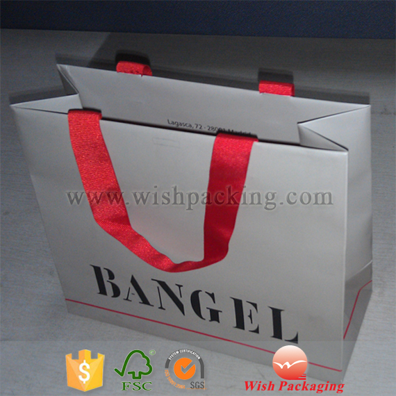 Red color Glossy satin ribbon band handle Paper bag