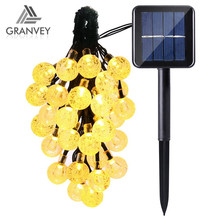 solar outdoor programmable led wireless christmas tree string lights ball light