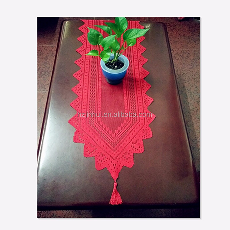 Hot christmas lace table runners red table runner green or white 33x114cm 13x45 inch for decoration