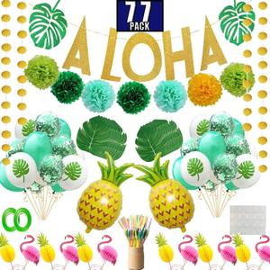Easternhope Hawaiian Party Pool Decorations 77pcs Party Supplies Aloha Banner Topper Balloon Drinking Umbrella Straws