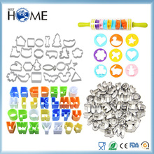Food Grade Cartoon Animal Number Alphabet Silicone Stainless Steel Plastic Cookie Cutter Set