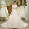 SL-80 China Latest Wedding Dress Beading Pearls Applique Bridal Gown 2017