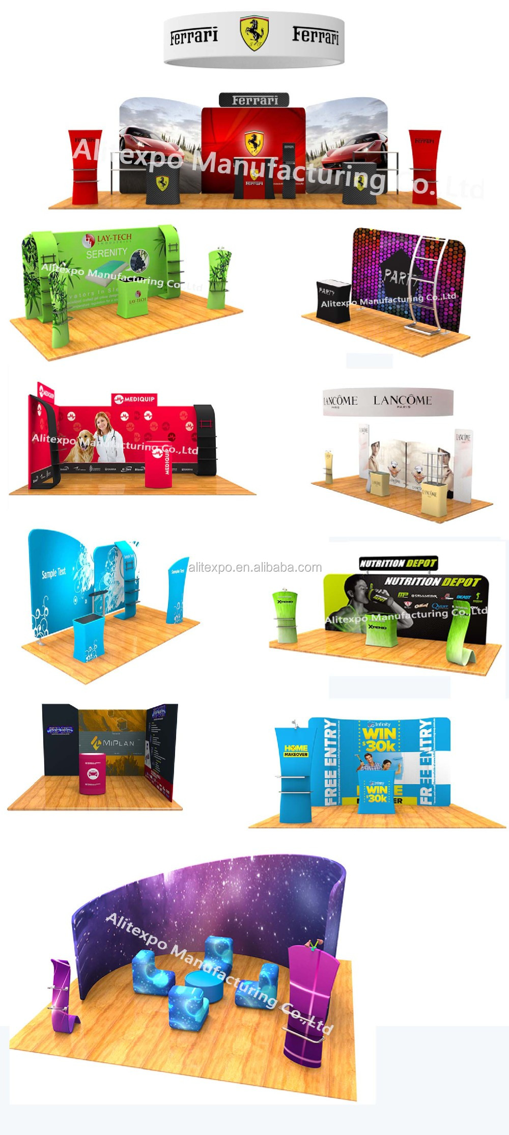 Trade show display 10ft aluminum frame stretch tension fabric exhibition stands