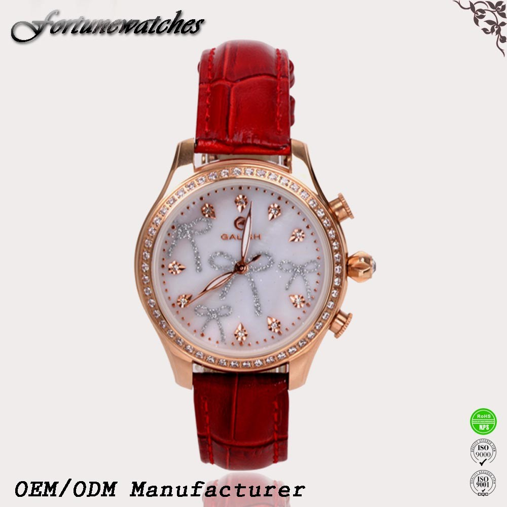 Online shopping real leather ladies fashion stainless steel perfume watch with real diamond sweden movement