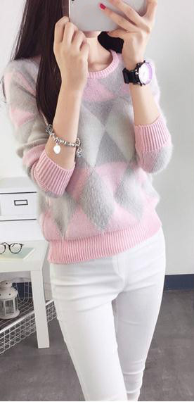 Autumn/winter sweater sleeve head korean female students with Mohair check long sleeve college style beautiful sweater