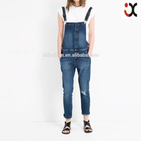 wholesale price cargo pants denim ripped overalls for womenJXF129