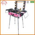 Custom- made Cosmetics Studio Togo Makeup Case Cosmetics Trolley Case with Light, Pink