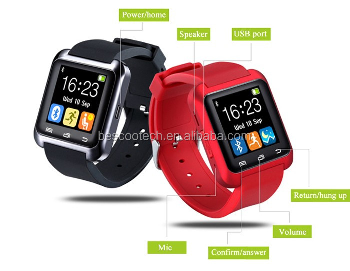 U80 Smart Bluetooth Watch Call Message Reminder Sleep Monitor Black/White/Red color