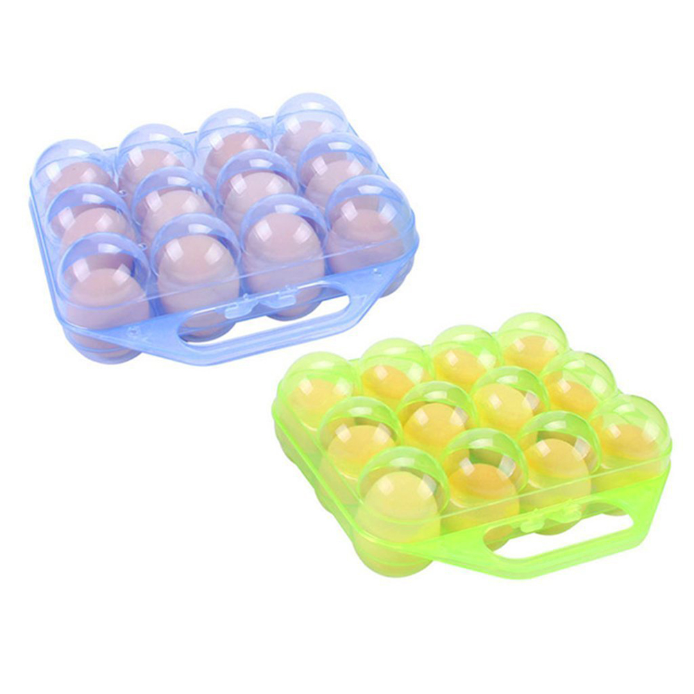 Egg Tray Folding Portable Plastic 12 Eggs Container Holder Storage Box Case